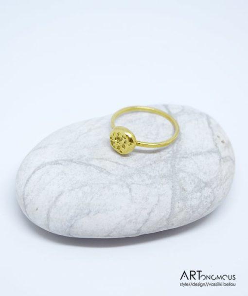 Ασημένιο δαχτυλίδι επίχρυσο 002148