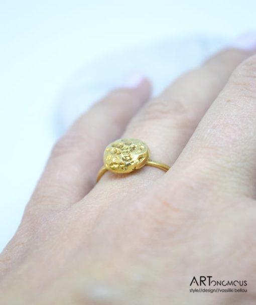 Ασημένιο δαχτυλίδι επίχρυσο 002151 (3)