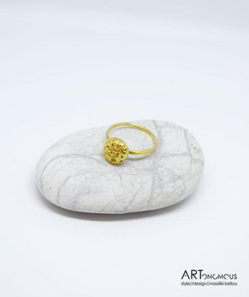 Ασημένιο δαχτυλίδι επίχρυσο 002151