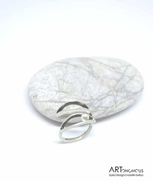 Ασημένιο δαχτυλίδι με μαργαριτάρι 002183 (2)