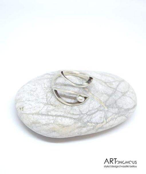 Ασημένιο δαχτυλίδι με μαργαριτάρι 002183