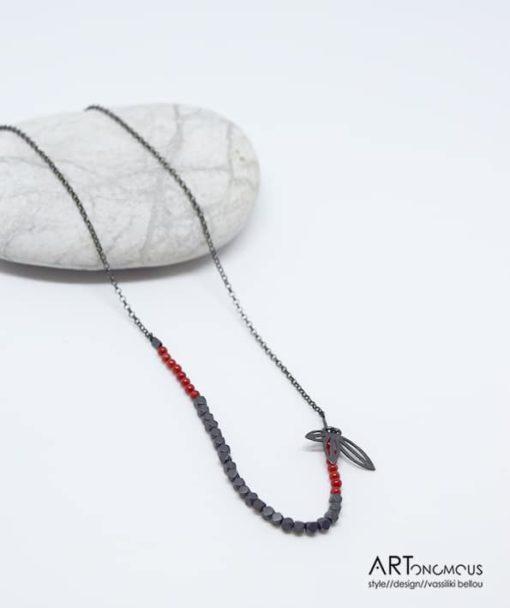 Ασημένιο κρεμαστό με κοράλλι & αιματίτη 002153 (2)