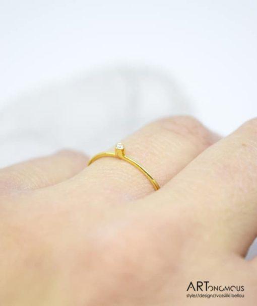Χρυσό δαχτυλίδι με διαμάντι 002156 (3)