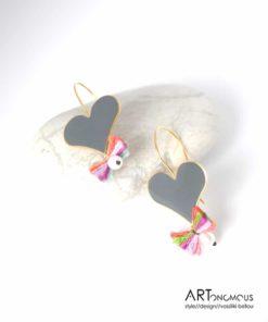 Ασημένια σκουλαρίκια με σμάλτο Καρδιά 002187