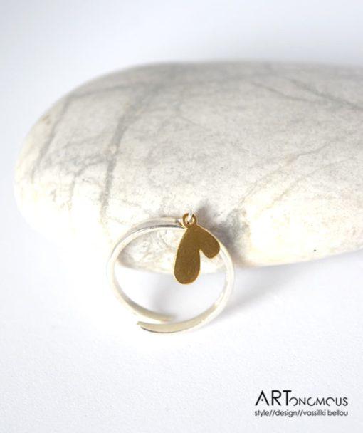 Ασημένιο δαχτυλίδι καρδιά 002198 (2)