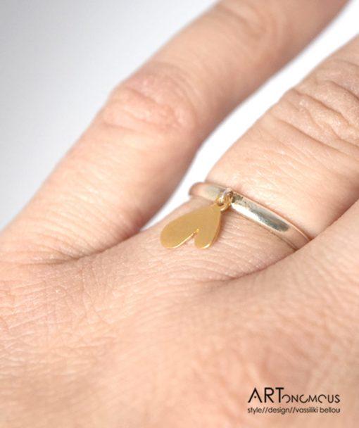 Ασημένιο δαχτυλίδι καρδιά 002198 (3)