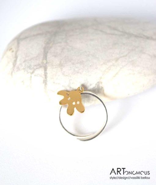 Ασημένιο δαχτυλίδι λουλουδάκι 002197 (2)