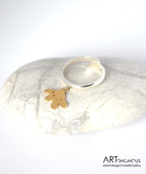 Ασημένιο δαχτυλίδι λουλουδάκι 002197