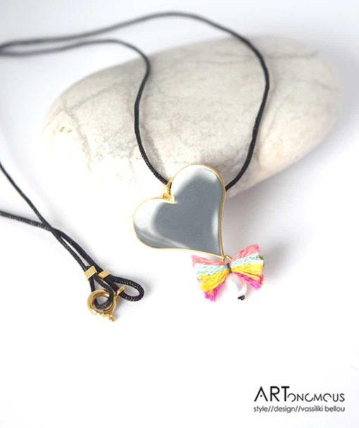 Ασημένιο μενταγιόν με σμάλτο Καρδιά 002188 (2)