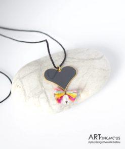 Ασημένιο μενταγιόν με σμάλτο Καρδιά 002188
