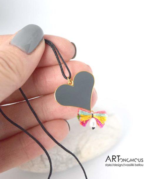 Ασημένιο μενταγιόν με σμάλτο Καρδιά 002188 (3)
