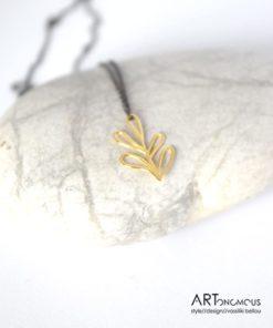 Χρυσό μενταγιόν με ασημένια αλυσίδα φυλλαράκια 002195