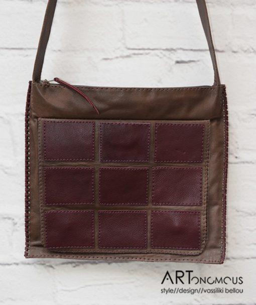 Δερμάτινη καφέ τσάντα με γεωμετρικά σχήματα 002206a (2)
