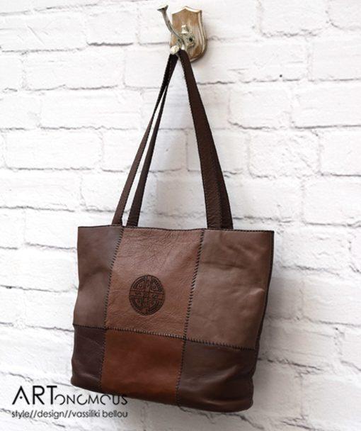 Δερμάτινη τσάντα σε καφέ αποχρώσεις 002200a (2)