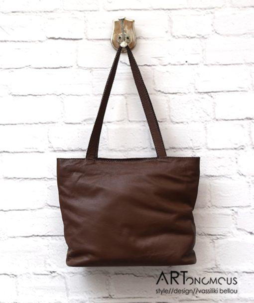 Δερμάτινη τσάντα σε καφέ αποχρώσεις 002200a (3)