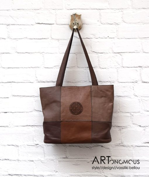 Δερμάτινη τσάντα σε καφέ αποχρώσεις 002200a