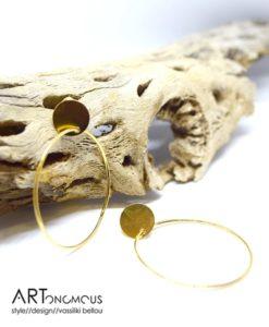 Ασημένια επίχρυσα σκουλαρίκια κρίκος 002235a