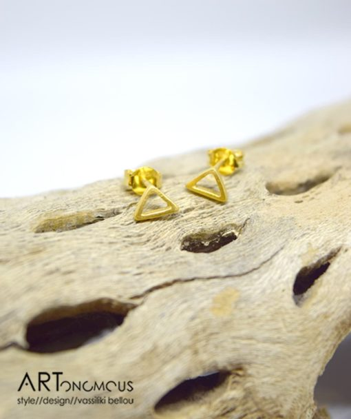 Ασημένια Επίχρυσα σκουλαρίκια τρίγωνο 002243a (2)