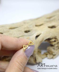 Ασημένια Επίχρυσα σκουλαρίκια τρίγωνο 002243a (3)
