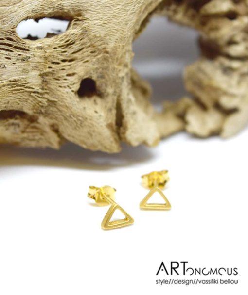 Ασημένια Επίχρυσα σκουλαρίκια τρίγωνο 002243a