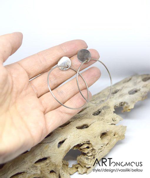 Ασημένια σκουλαρίκια κρίκος 002234a (2)