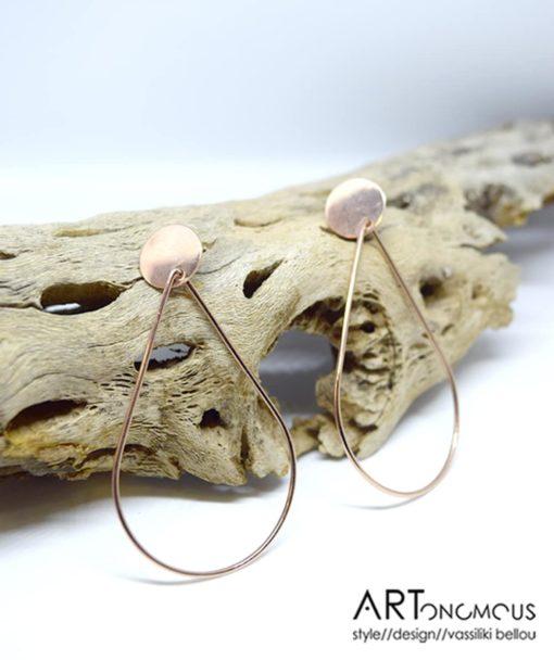 Ασημένια σκουλαρίκια σταγόνα ροζ επιχρύσωμα 002233a (3)