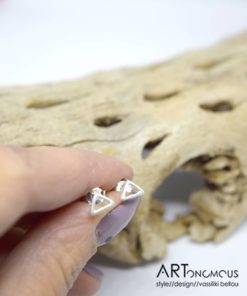 Ασημένια σκουλαρίκια τρίγωνο 002242a (3)