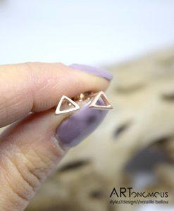 Ασημένια σκουλαρίκια τρίγωνο με ροζ χρύσωμα 002244a (3)