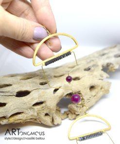 Επίχρυσα σκουλαρίκια με ημιπολύτιμους λίθους 002238a (3)