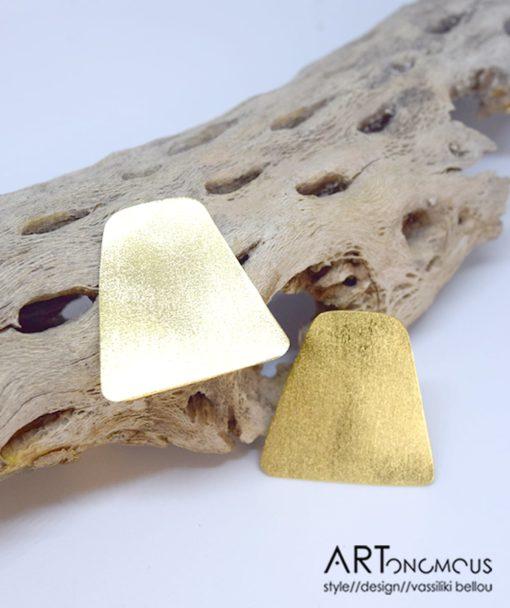 Επίχρυσα σκουλαρίκια ορθογώνιο 002229a