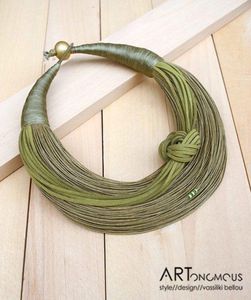 Κολιέ με νήμα πράσινο 002251a (2)