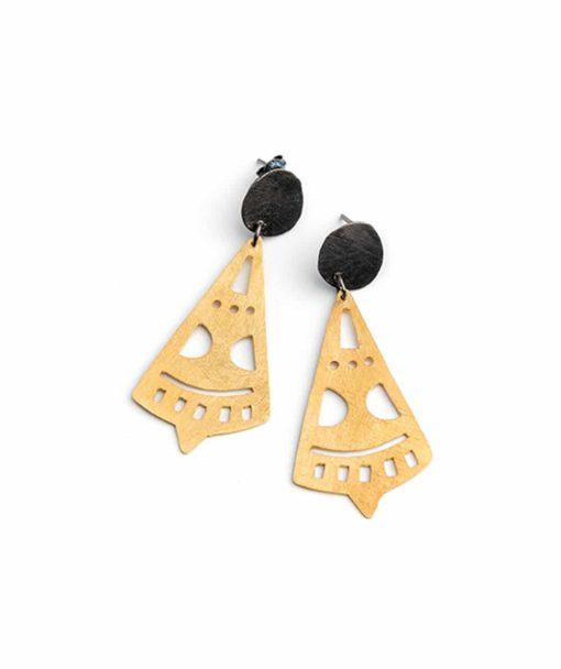 Ασημένια επιχρυσωμένα γεωμετρικά σκουλαρίκια 002308a
