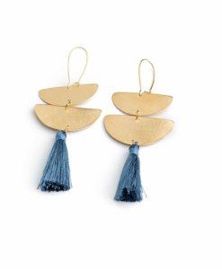 Επίχρυσα μακριά σκουλαρίκια με φούντες Μπλε 002321a