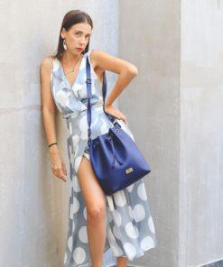Τσάντα χιαστί πουγκί - Μπλε