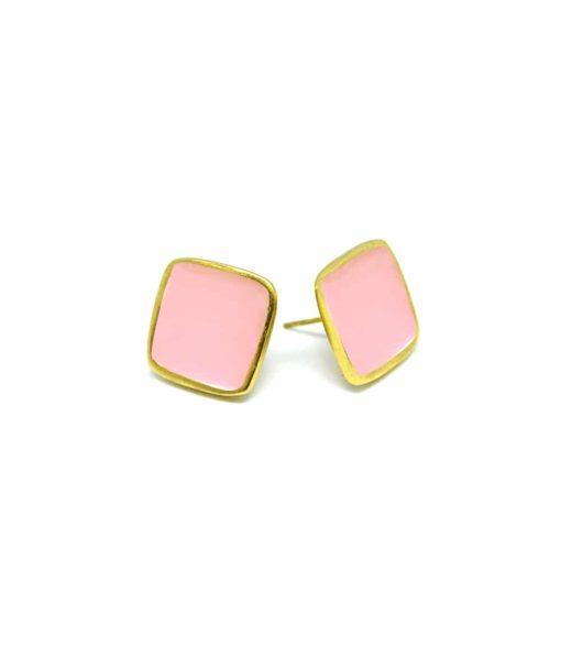 Τετράγωνα σκουλαρίκια με σμάλτο ροζ ENAEAR5