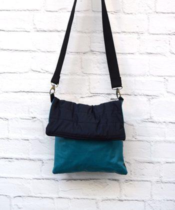 Χιαστί τσάντα από ύφασμα μαύρο πετρόλ