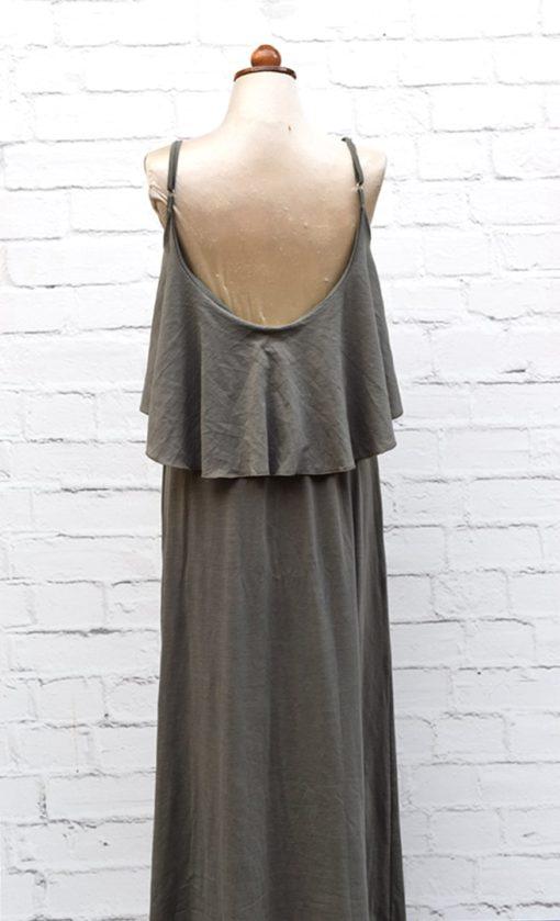 Φόρεμα λαδί με βολάν 002454b (1)