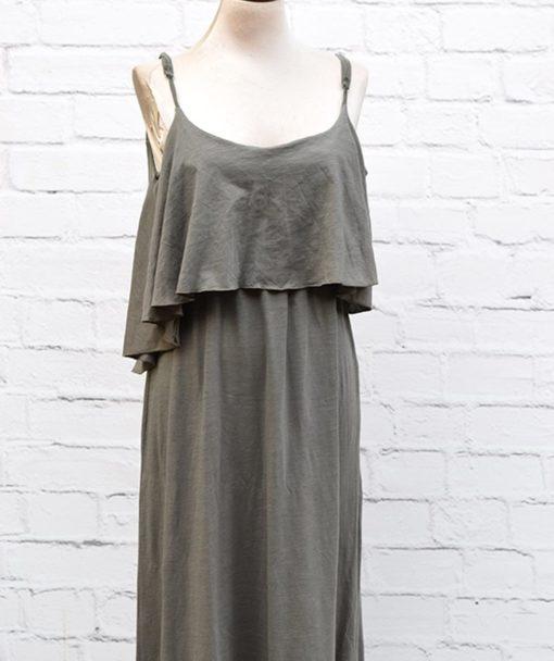 Φόρεμα λαδί με βολάν 002454b (2)
