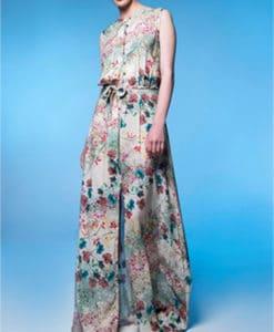 Φόρεμα μακρύ εμπριμέ με άνοιγμα μπροστά 002462a (2)