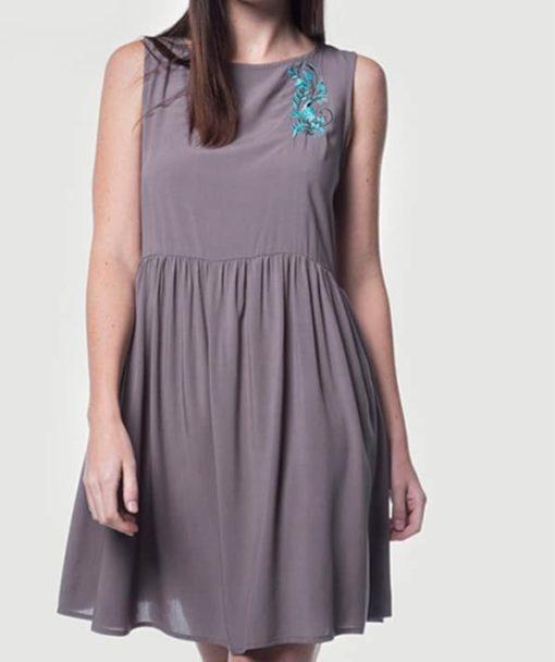 Φόρεμα Midi αμάνικο με κέντημα 002441a (2)