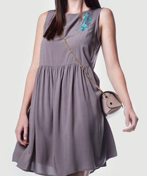Φόρεμα Midi αμάνικο με κέντημα 002441a