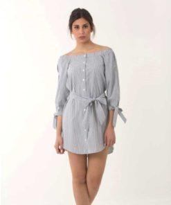 Φόρεμα ριγέ γαλάζιο 002442a