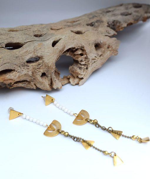 Μακριά έθνικ σκουλαρίκια με ημιπολύτικες πέτρες 002431a (2)