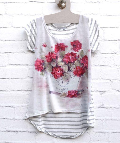 Μπλούζα εμπριμέ με λουλούδια 002393a