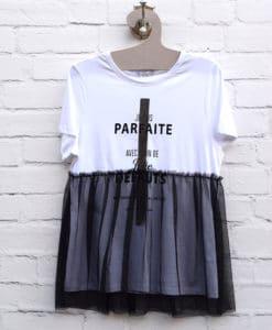 Μπλούζα λευκή με μαύρο τούλι 002388a