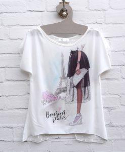 Μπλούζα Με θέμα Παρίσι & πουά τούλι 002396a