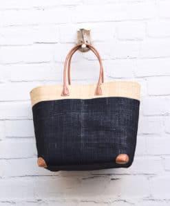 Τσάντα ψάθινο καλάθι Μαύρο, Εκρού 002371a