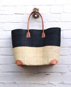 Τσάντα ψάθινο καλάθι Μαύρο, Εκρού 002372a