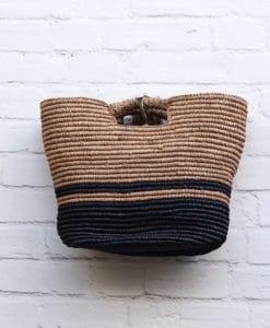 Τσάντα ψάθινο καλάθι ΜαύροΜπεζ 002370a