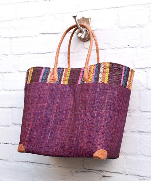 Τσάντα ψάθινο καλάθι Μωβ 002373a (2)